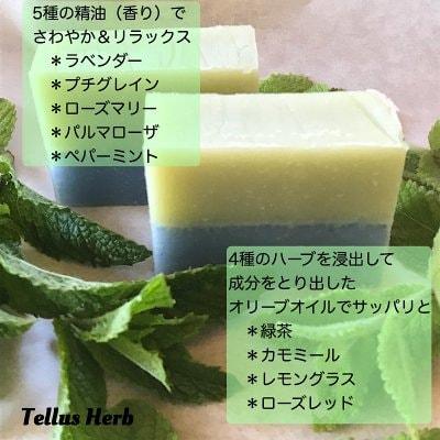 【秋の夜長のバスタイム!】Tellus緑茶&ハーブとラベンダーのさっぱりソープ/70g手作り石けん