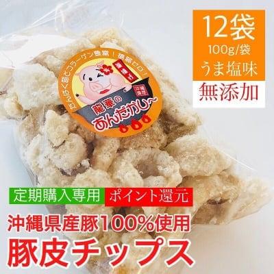 【うま塩味】【定期購入可能】100g×12袋 豚皮チップス アンダカシー/沖縄県産豚100%使用 無添加/沖縄県うるま市産 龍華のアンダカシー |糖質ゼロ