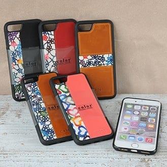 紅型(びんがた)ハードケース/スマートフォンケース/アイフォン6・7・8専用(革カラー3色バリエーションあり)