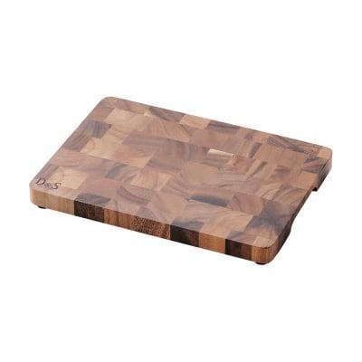 【D&Sウッドウェアシリーズ】エンドグレインカッティングボード Mサイズ 275×197×高さ28(mm) 天然木(アカシア)