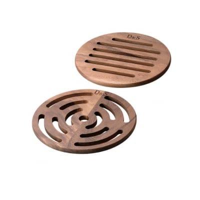 【D&Sウッドウェアシリーズ】ラウンドトリベット2ピースセット(鍋敷き) 径182×高さ10(mm) 天然木(アカシア)の画像1