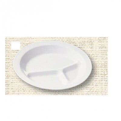 【ポリプロピレン食器】丸ランチ皿三ツ切(白)№1714W