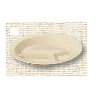 【ポリプロピレン食器】丸ランチ皿 3ツ切(クリーム)№1714K