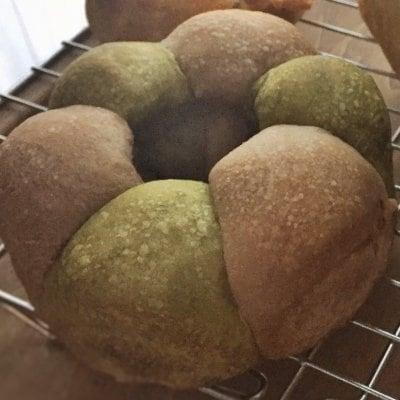 2色ちぎり(抹茶アズキ+キャロブ)パン