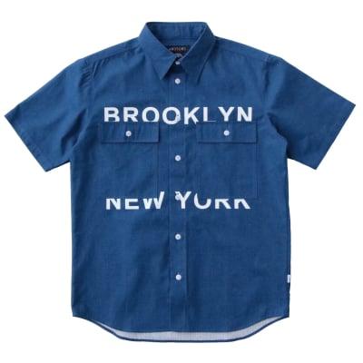 NYC RIPSTOP WOVEN ワークシャツ ブルー  M・2Xサイズ