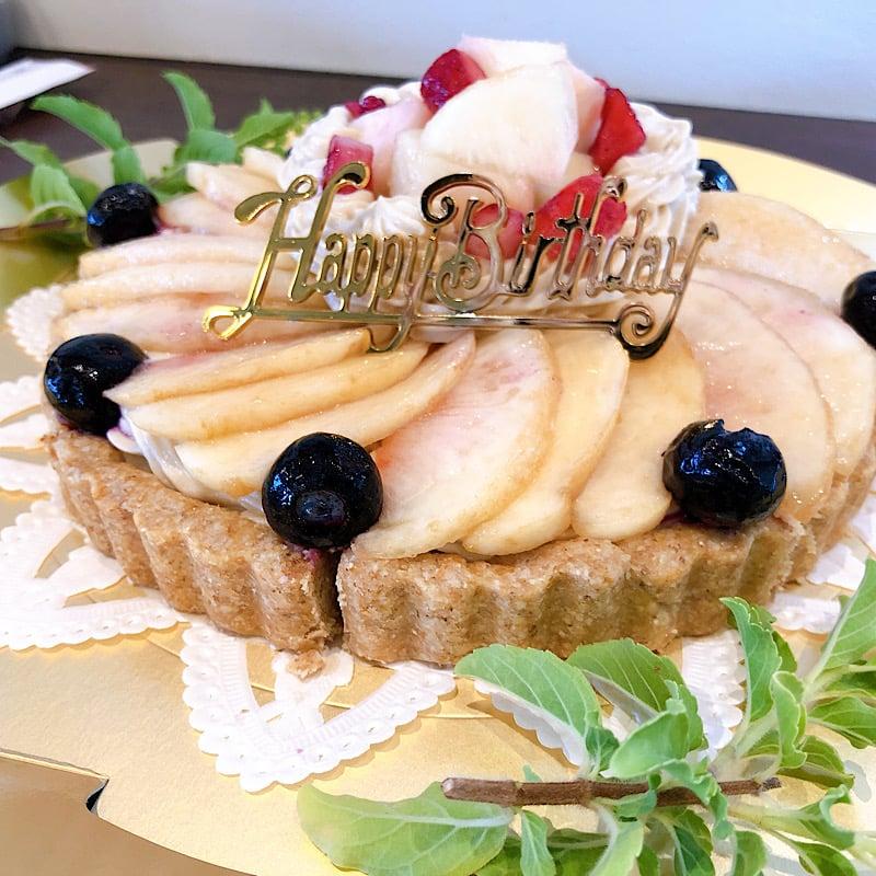 【バースデーケーキ】季節のフルーツタルトチケット3800円/バースデーデコレーション(ヴィーガンケーキ18cm/6号)のイメージその5