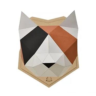 【Mサイズ】ペーパークラフト 組み立てるインテリアKAKUKAKU 【MIKENEKO(三毛猫)】