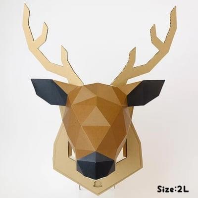 【2Lサイズ/取寄商品】   ペーパークラフト 組み立てるインテリアKAKUKAKU【SHIKA(鹿)】