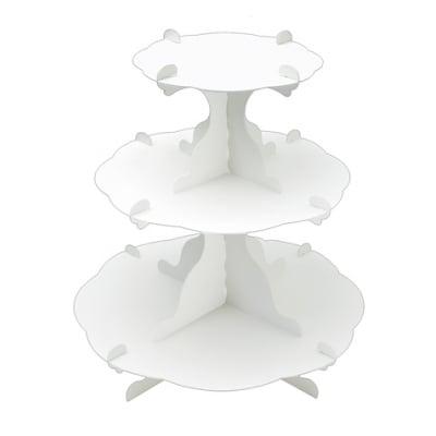 アフタヌーンティー風組立式3段テーブル ホワイト   (No.44-5820)