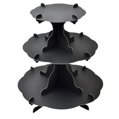 アフタヌーンティー風組立式3段テーブル ブラック   (No.44-5821)