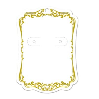 【単価16円】ピアス・イヤリング台紙 ホワイト(レリーフ) L    (No.19-2602)