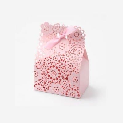 【Lサイズ】プレゼントボックス レース ピンク 6枚入り  (No.BLHW156806-C)
