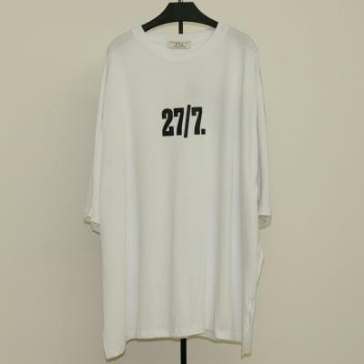 [白]前後英数字ワイドTシャツ