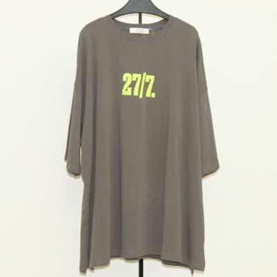 [グレー]前後英数字ワイドTシャツ