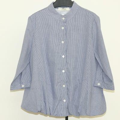 [ブルー]ミニチェック立襟バルーン七分袖ブラウス