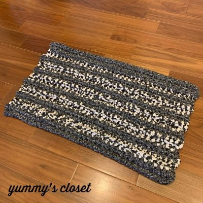 コットン素材の手編みマット/玄関/リビング/ペット用 《グレー》