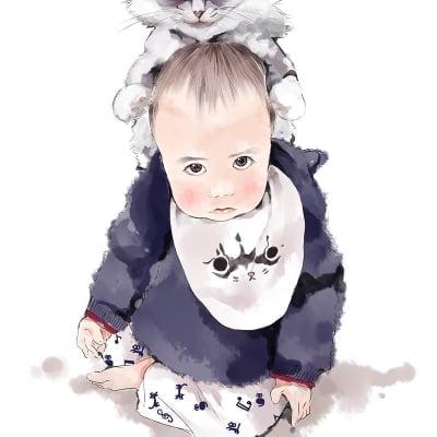 お子様やペットの水彩画風似顔絵