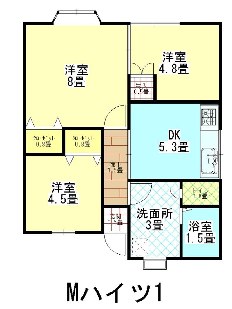 家賃1年チケット Mハイツ2 新潟県燕市吉田弥生町38-22のイメージその2