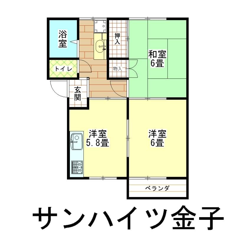 サンハイツ金子家賃 新潟県燕市吉田春日町8−612−11のイメージその1