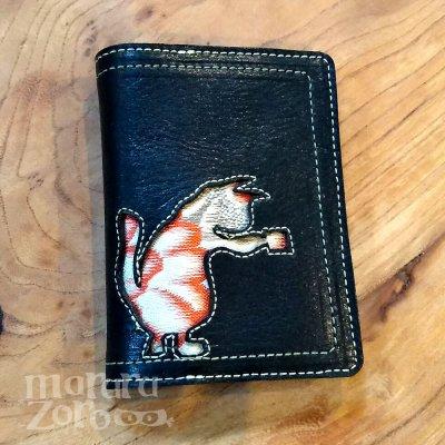 【猫柄 カードケース・渡邊印】 ハンドメイド 和柄猫 帯生地 革製品