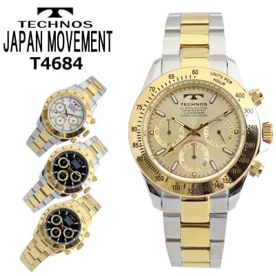 【TECHNOS】 テクノス クロノグラフ メンズ 腕時計