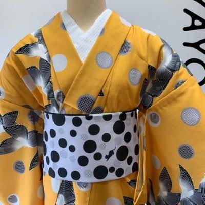 オリジナル着物・浴衣|からし黒蝶|かのうやよいデザイン|1点もの
