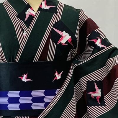 オリジナル着物・浴衣 あずきおり鶴 かのうやよいデザイン 1点もの