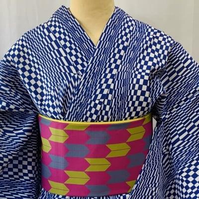 オリジナル着物・浴衣 幾何学ブルー かのうやよいデザイン 1点もの