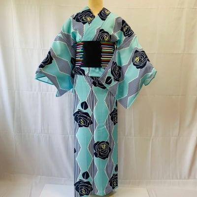 水色バラダイヤ|かのうやよいデザイン|オリジナル着物・浴衣|1点もの
