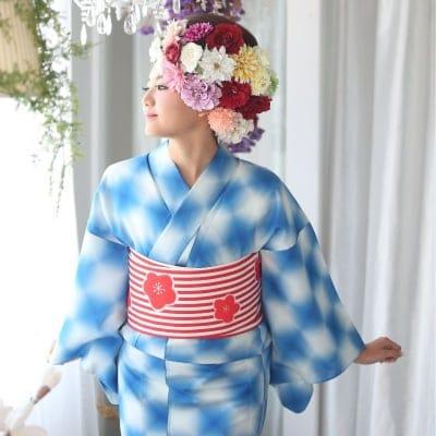 オリジナル着物・浴衣 ブルーぼかし市松 かのうやよいデザイン 1点もの