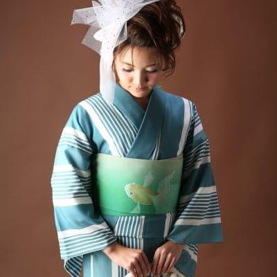 オリジナル着物・浴衣|グリーンストライプ|かのうやよいデザイン|1点もの