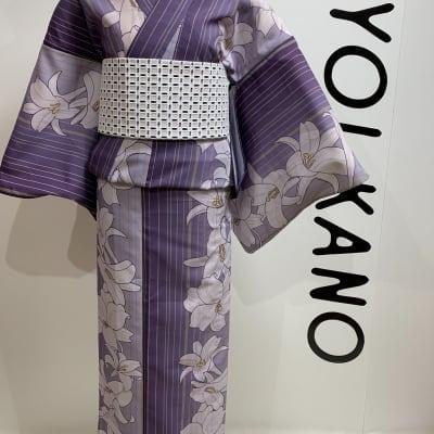 オリジナル着物・浴衣 藤色百合 かのうやよいデザイン 1点もの