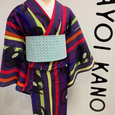 オリジナル着物・浴衣|マルチ手描きライン|かのうやよいデザイン|1点もの