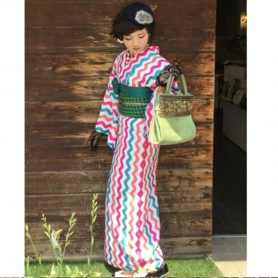 オリジナル着物・袷 三色波枠 かのうやよいデザイン 1点もの 秋冬春 洗える着物