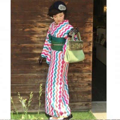 オリジナル着物・袷|三色波枠|かのうやよいデザイン|1点もの|秋冬春|洗える着物