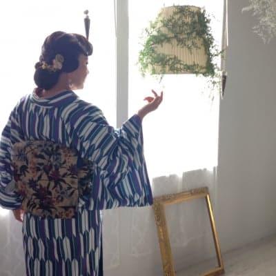 オリジナル着物・袷 古典モダン矢絣 かのうやよいデザイン 1点もの 秋冬春 洗える着物