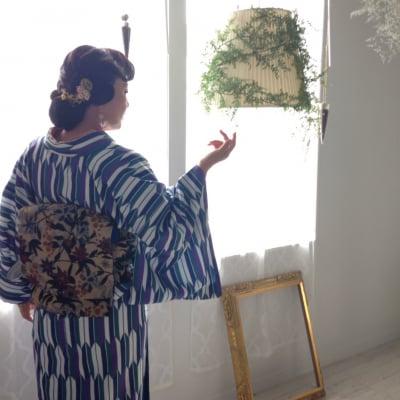 オリジナル着物・袷|古典モダン矢絣|かのうやよいデザイン|1点もの|秋冬春|洗える着物