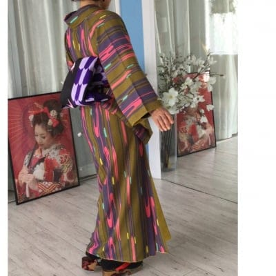 オリジナル着物・袷|金茶レトロモダン|かのうやよいデザイン|1点もの|秋冬春|洗える着物