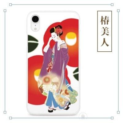 和柄 椿 美人画 着物 iPhoneケース やよいデザイン