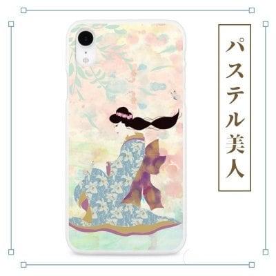 和柄 パステル 美人画 着物 iPhoneケース やよいデザイン