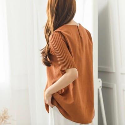 秋服 オシャレカットソー 袖のデザイン 赤茶色 ツクツクレディースファッション