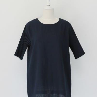 秋服 オシャレカットソー 袖のデザイン ネイビー  ツクツクレディースファッション