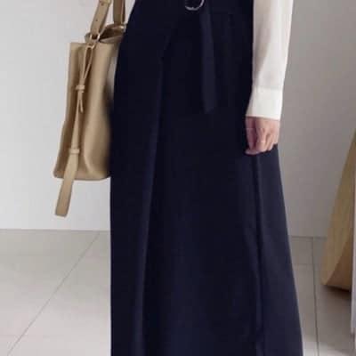 巻きスカート風ワイドパンツ ワイドパンツ デザインワイドパンツ ネイビー