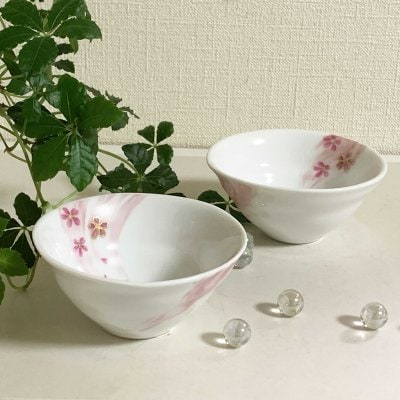 オリジナルデザイン桜ゆらぎ煎茶碗2個組