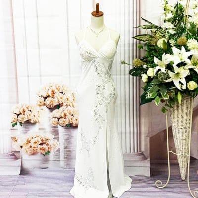 【新品】ロングドレス/Mサイズ/白/ホワイト/ストレッチが利いていて体にフィット/st-M-0015