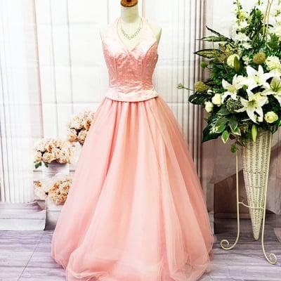 【新品】ロングドレス/Mサイズ/ピンク/ボリュームドレス/st-M-0021