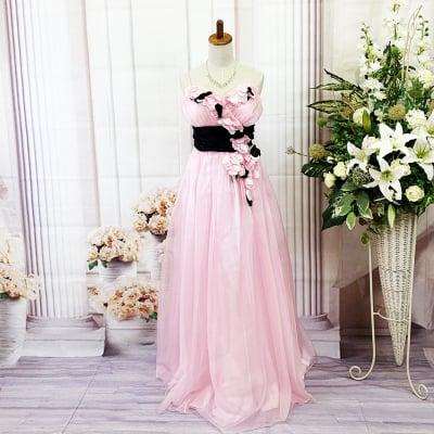 ロングドレス/Lサイズ/エルサイズ/ピンク×ブラック/黒/可愛いドレス/st-l-0141