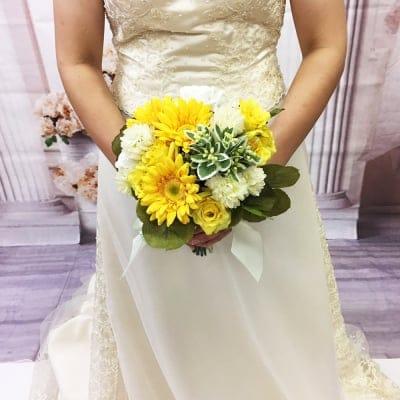 【造花ウェディングブーケ】黄色いガーベラのブライダルブーケ/ブートニアセット/bq-0027