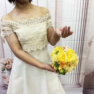 【造花ウェディングブーケ】黄色いボタンの手まりブライダルブーケ/bq-0036
