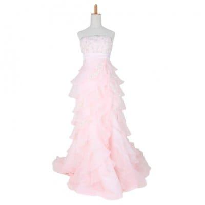 カクテルドレス/お色直しドレス/カラードレス/薄ピンク/wc-0013